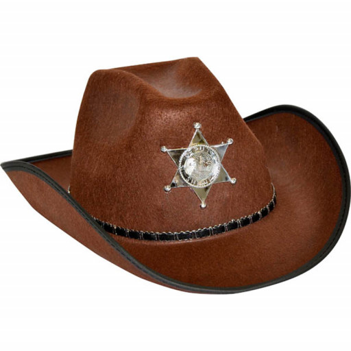 Chapeau Cow-Boy Sherif Adulte Marron