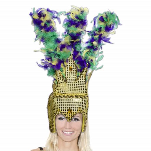 Coiffe Cabaret Paillettes Or Plumes Jaune-Violet-Vert