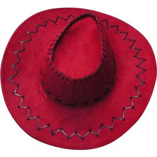 Chapeau Cow-Boy Adulte Texas avec Coutures Rouge