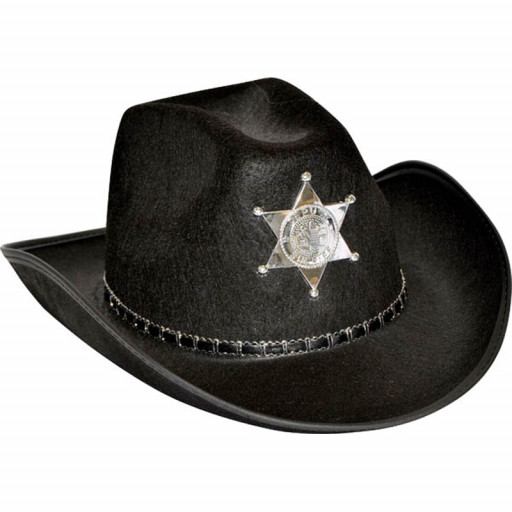 Chapeau Cow-Boy Sherif Adulte Noir