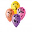 Sachet de 10 Ballons Animaux de La Ferme Assortis Imp Noir Diam 30cm