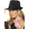 Chapeau Gangster Femme Noir Raye Rose