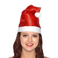 Bonnet de Père Noel Paillettes Rouge 30cm Env 123DEG-3700638202001-10011564