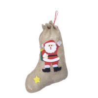 Chaussette de Noel en Jute Décorée 43cm 123DEG-3700638225697-10022377