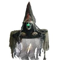 Chapeau Sorcière 48cm Tissu Gris avec tète de Mort Lumineus Pile Inc 123DEG-3700638224461-10011137