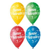 Sachet de 10 Ballons Bonne Retraite Assortis Diam 30cm 123DEG-8021886310016-10002266