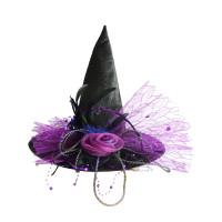Chapeau de Sorcière Luxe 45cm avec Fleur et Tulle Violet 123DEG-3700638224478-10011136