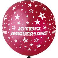 """Ballon géant Rond""""Joyeux Anniversaire""""Bordeaux. Imp Blanc Diam 80cm 123DEG-8021886310450-10002247"""