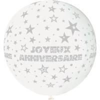 """Ballon géant Rond""""Joyeux Anniversaire""""Blanc Imp Gris Diam 80cm -01 123DEG-8021886310436-10002245"""