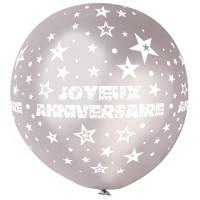 """Ballon géant Rond""""Joyeux Anniversaire""""Argent Imp Blanc Diam 80cm -38 123DEG-8021886310429-10002244"""