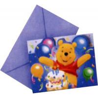Lot de 6 Cartes Invitation + Enveloppes Winnie 123DEG-5201184081235-10017241