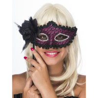 Face à Main Fuchsia Dentelle avec Rose et Plumes Noires 123DEG-3700638214011-10021216
