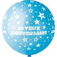 """Ballon géant Rond""""Joyeux Anniversaire"""" Lagon Imp Blanc Diam 80cm 09 123DEG-8021886310481-10002251"""