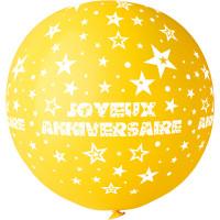 "Ballon géant Rond""Joyeux Anniversaire""Jaune Impression Blanc Diam 80 123DEG-8021886310559-10002250"