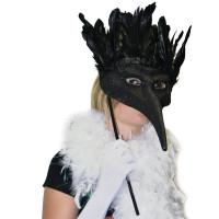 Loup Face à Main Grand Bal avec Plumes Noires 40cm 123DEG-3700638213984-10021213