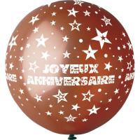 """Ballon géant Rond""""Joyeux Anniversaire"""" Chocolat Imp Blanc Diam 80cm 123DEG-8021886310467-10002248"""