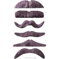 Pack de 12 Moustaches 6 Modèles Assortis Gris - Auto Adhesives 123DEG-8003558082308-10021741
