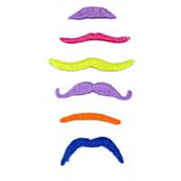 Pack de 6 Moustaches Fluo Couleurs et Modèles Assortis 123DEG-3700638214998-10021748