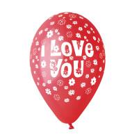 "Sachet de 100 Ballons Saint Valentin 'I Love You"" Rouge Imp Blanche 123DEG-8021886206210-10002072"