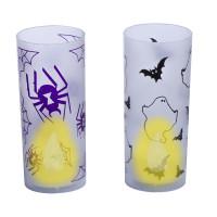 Bougie Led avec Bougeoir Halloween Assortie Pile Incluse 123DEG-3700638224928-10011100