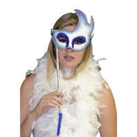 Loup Face à Main Argent Bleu Paillettes 123DEG-3700638213977-10021212