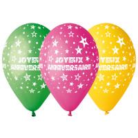 """Sachet de 10 Ballons """"Joyeux Anniversaire""""Multi Diam 30Cm 123DEG-8021886301106-10001927"""