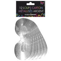 Sachet de 12 Loups Carton métallises Argent 123DEG-3700638220166-10011797